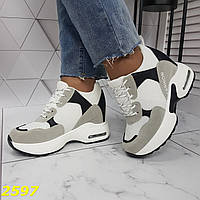 Кросівки снікерси на високій платформі з танкеткою білі з сірим, фото 1