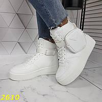 Снікерси кросівки на платформі форси високі білі з портупеєю сумочкою, фото 1