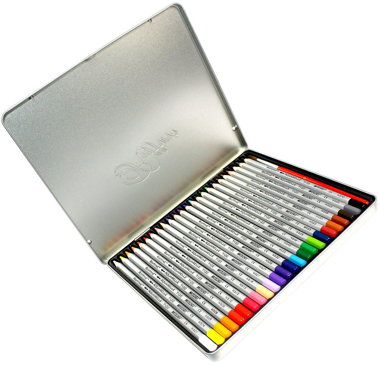 Карандаши цветные Marco Raffaine (24 цвета) + кисточка в металлическом пенале