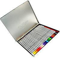Карандаши цветные Marco Raffaine (24 цвета) + кисточка в металлическом пенале, фото 1