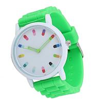 """Женские кварцевые часы GENEVA Женева с силиконовым ремешком """"радуга"""" ,  женские электронные часы"""