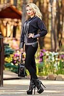 Женские лосины с кожаными вставками + большой размер