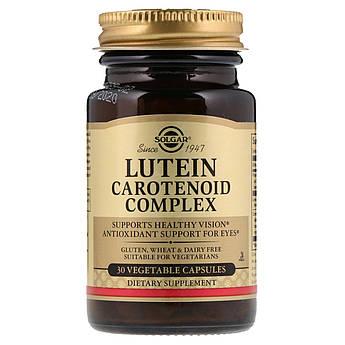 Лютеиновый Комплекс Каротиноидов, Lutein Carotenoid Complex, Solgar, 30 гелевых капсул