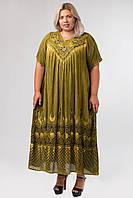 Платье хаки с рисунком ручной работы и рукавом, на 54-66 размеры