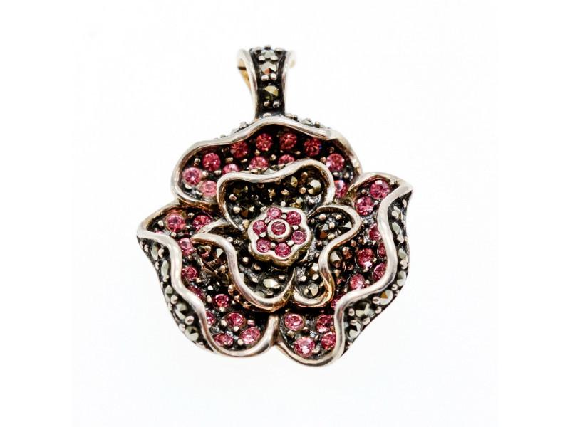Серебряный Кулон  925 проба с камнями Черная и Розовая  Шпинель  *Роза*