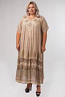 Платье бежевое с рисунком ручной работы и рукавом, на 54-66 размеры