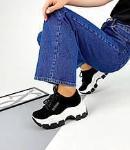 Женские кроссовки черные замшевые на платформе