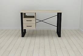 Письменный стол с ящиками Ferrum-decor Оскар  750x1200x600 металл Черный ДСП Сонома 16 мм (OSK0004)