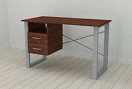 Письмовий стіл з ящиками Ferrum-decor Оскар 750x1400x600 метал Сірий ДСП Венге 16 мм (OSK0038)