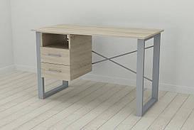 Письмовий стіл з ящиками Ferrum-decor Оскар 750x1400x600 метал Сірий ДСП Сонома 16 мм (OSK0039)