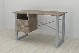 Письменный стол с ящиками Ferrum-decor Оскар  750x1400x600 металл Серый ДСП Сонома Трюфель 16 мм (OSK0040)