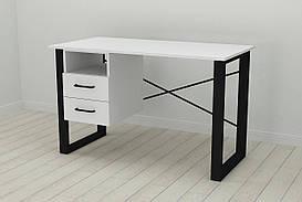 Письмовий стіл з ящиками Ferrum-decor Оскар 750x1200x700 метал Чорний ДСП Біле 16 мм (OSK0043)