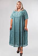 Платье голубое с рукавом, большой размер, на 56-66 размеры