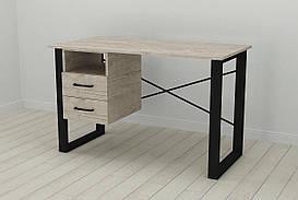 Письмовий стіл з ящиками Ferrum-decor Оскар 750x1200x700 метал Чорний ДСП Шервуд 16 мм (OSK0044)