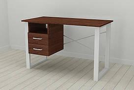 Письмовий стіл з ящиками Ferrum-decor Оскар 750x1200x700 метал Білий ДСП Венге 16 мм (OSK0052)