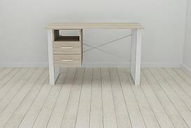 Письмовий стіл з ящиками Ferrum-decor Оскар 750x1200x700 метал Білий ДСП Сонома 16 мм (OSK0053)