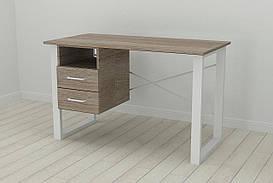 Письмовий стіл з ящиками Ferrum-decor Оскар 750x1200x700 метал Білий ДСП Сонома Трюфель 16 мм (OSK0054)