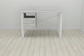 Письмовий стіл з ящиками Ferrum-decor Оскар 750x1200x700 метал Білий ДСП Урбан Лайт 16 мм (OSK0056)