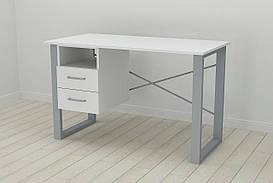 Письмовий стіл з ящиками Ferrum-decor Оскар 750x1200x700 метал Сірий ДСП Біле 16 мм (OSK0057)