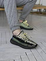 """Кросівки Adidas Yeezy Boost 350 V2 """"Чорні"""". Рефлективні, фото 2"""