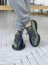 """Кросівки Adidas Yeezy Boost 350 V2 """"Чорні"""". Рефлективні, фото 3"""