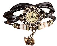 Женские часы с кожаным ремешком под старину с брелком котиком, купить часы браслет женские
