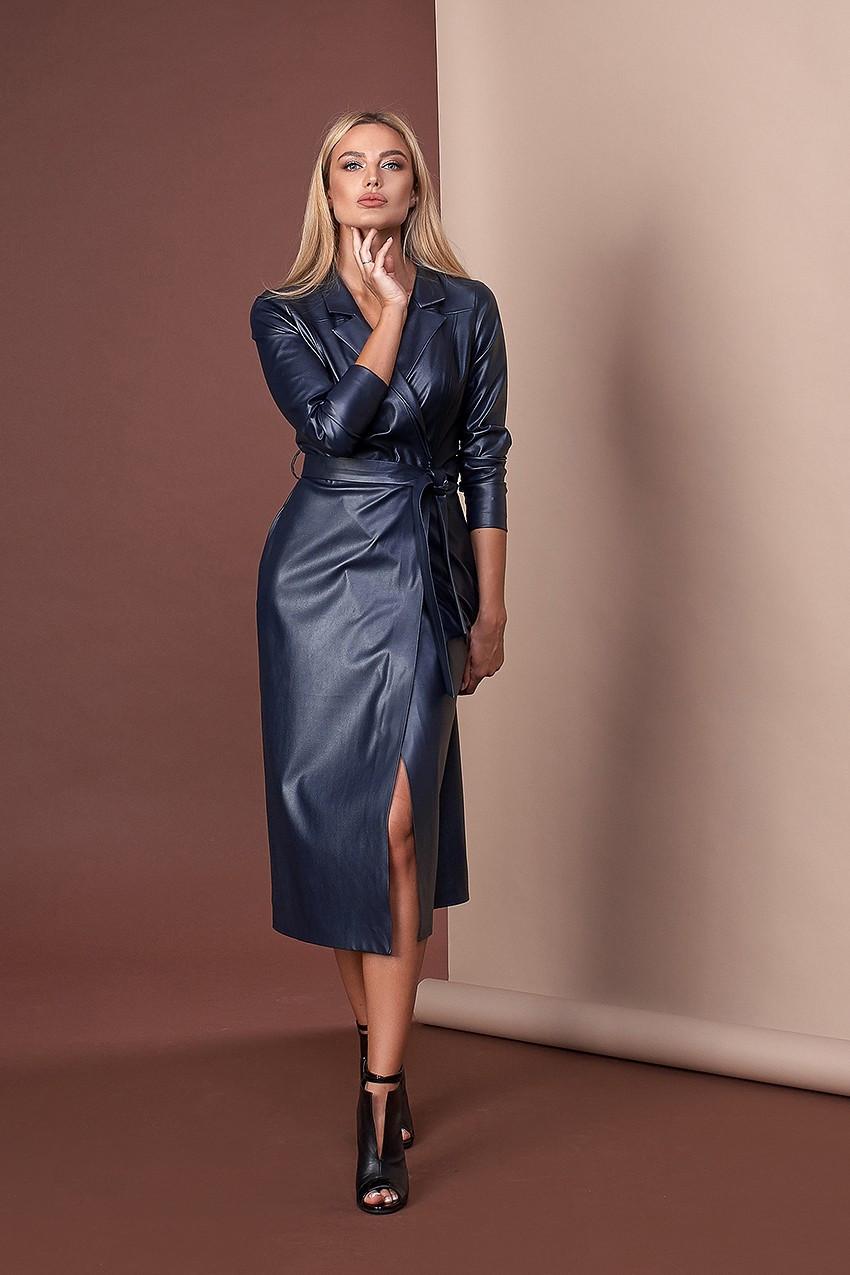 Плаття жіноче з еко-шкіри на запах темно-синє Style-Nika MKSN2183-02