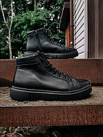 Чоловічі зимові шкіряні черевики на хутрі/байку, чорні, розмір 40-45, фото 1