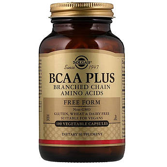 Аминокислоты BCAA плюс, BCAA Plus, Solgar, 100 капсул