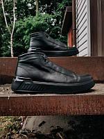 Очень тёплые мужские кожаные зимние ботинки, чёрные, размер 40-45, фото 1