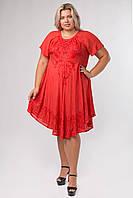 Платье разлетайка красное с вышивкой и рукавом, на 48-58 размеры
