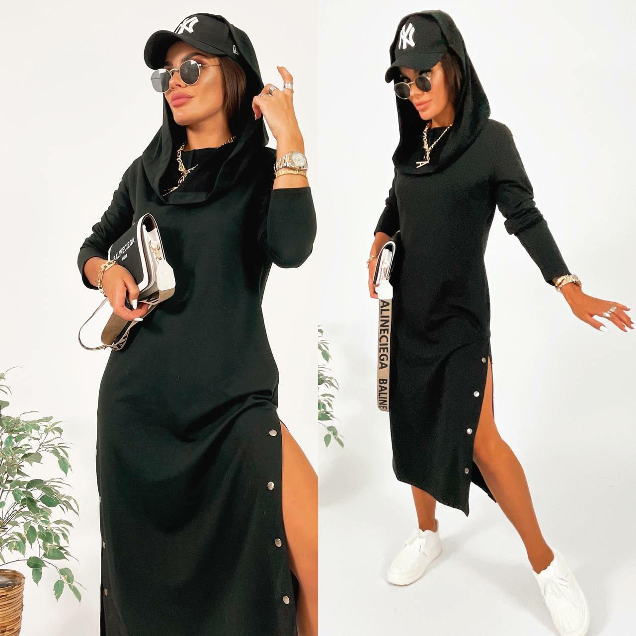 Женское платье с хомутом-капюшоном разрезом