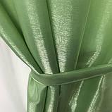 Готовый комплект штор монорей на тесьме с подхватами 150х270 (2шт) Цвет Салатовый, фото 3