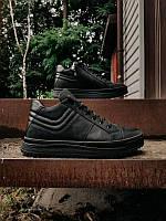 Мужские зимние кожаные ботинки на меху/байке, чёрные, размер 40-45, фото 1