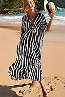 Туника пляжная женская длинная в черно-белую полоску большого размера