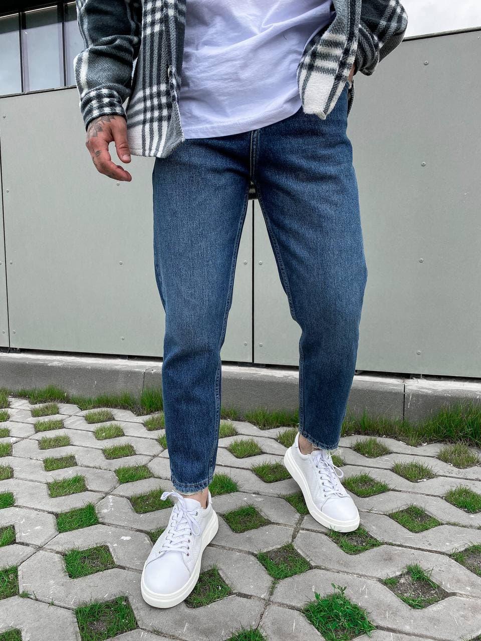 Джинсы мужские MOM модные синие. Штаны джинсовые мужские MOM синего цвета.