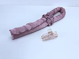 Лента для завивки волос с прищепкой розовая