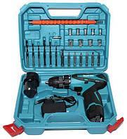 Аккумуляторный шуруповерт Makita с набором инструментов в кейсе 12V