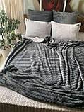 Велюровий Комплект постільної білизни двосторонній Хвиля Сливово - Сірий, фото 9