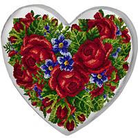 Подушка сердце 3D Букет цветов
