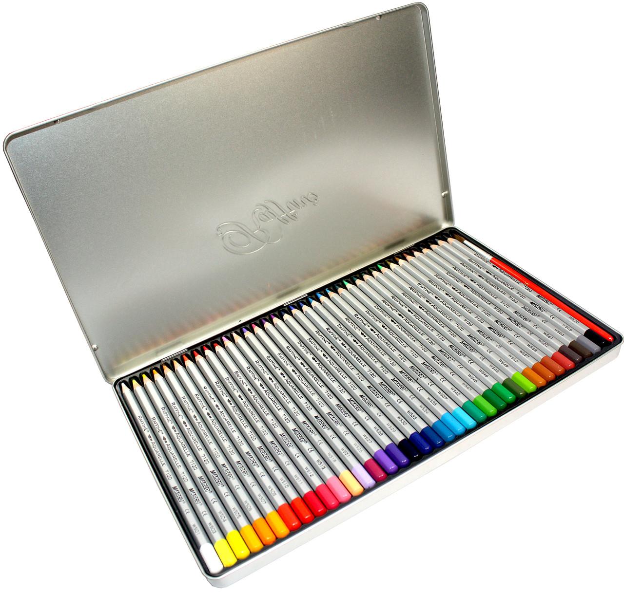 Карандаши цветные Marco Raffaine (36 цвета) + кисточка в металлическом пенале