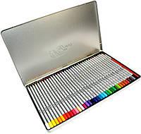 Карандаши цветные Marco Raffaine (36 цвета) + кисточка в металлическом пенале, фото 1