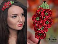 """""""Красные маки"""" авторский обруч/веночек для волос с цветами"""