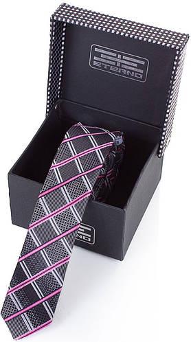 Универсальный шелковый узкий галстук  ETERNO (ЭТЕРНО) EG618 синий