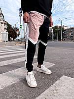 Мужские спортивные штаны (черно-бежевые) молодежные модные зауженные штаны s4095беж