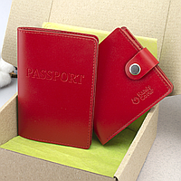 Подарунковий жіночий набір №56: обкладинка на паспорт + портмоне HC0042 (червоний), фото 1