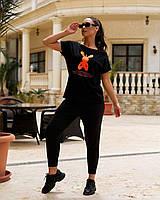 Женский спортивный костюм штаны и футболка с накатом батал, фото 1