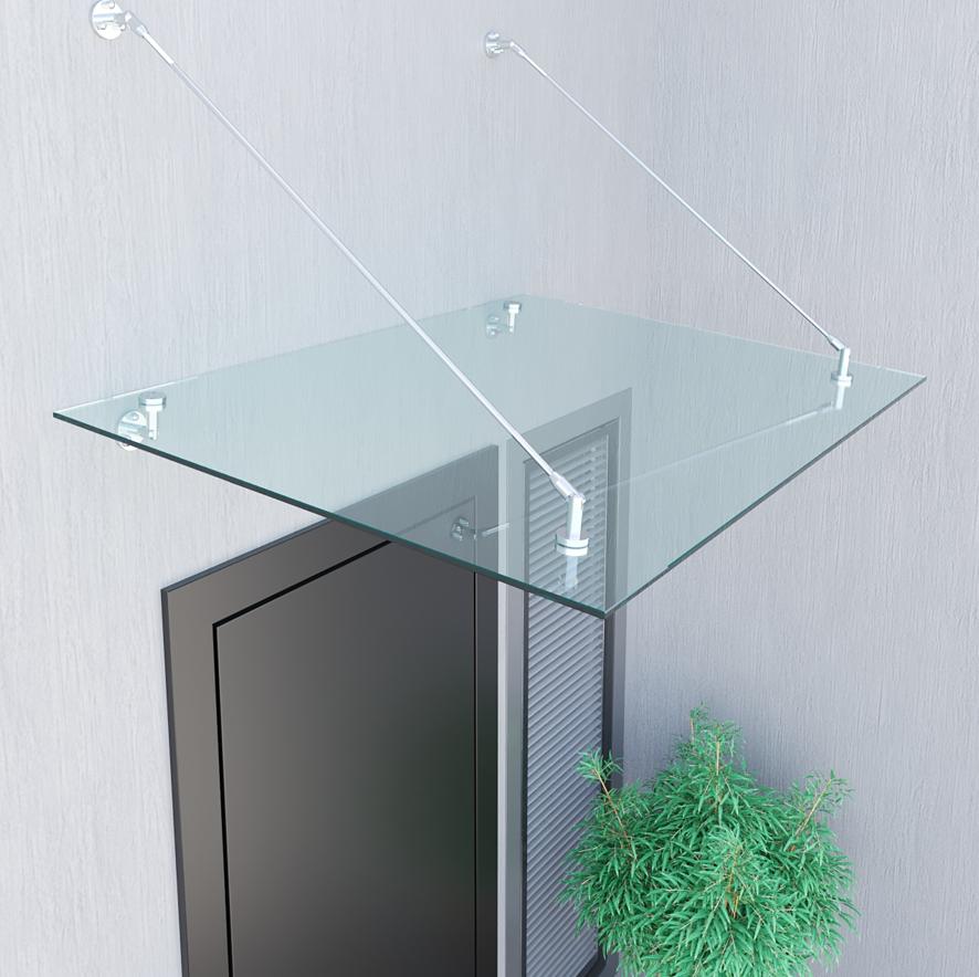 Стеклянный козырек из прозрачного каленного стекла триплекс 6+6 мм