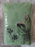 """Семейное постельное белье жатка """"Тирасполь"""" зеленые цветы"""