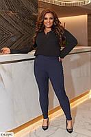 Женские стрейчевые леггинсы-брюки джеггинсы облегающие тонкий стрейч джинс больших размеров р-ры 50-60 арт.837, фото 1